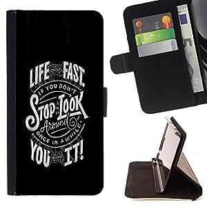 BullDog Case - FOR/LG G2 D800 / - / FAST LIFE TYPOGRAPHY /- Monedero de cuero de la PU Llevar cubierta de la caja con el ID Credit Card Slots Flip funda de cuer