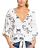 Angerella Womens Tie Front Tops 3/4 Sleeve Loose Casual Workout V Neck Blouses