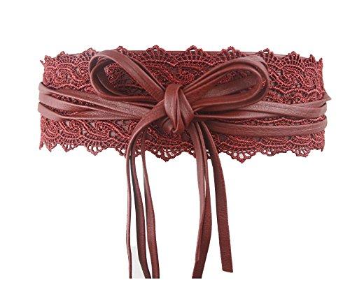 Women's Bowknot Faux Leather Wrap Around Self Tie Waist Band Obi Cinch (Leather Waist Cinch)