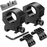 Modkin 1'' Scope Rings, 30mm Scope Mount Tactical Low Profile 25.4mm Inner Washer 1 Pair with 3 Slots Picatinny Rail Fit 21mm Picatinny Rail Black (2 packs)