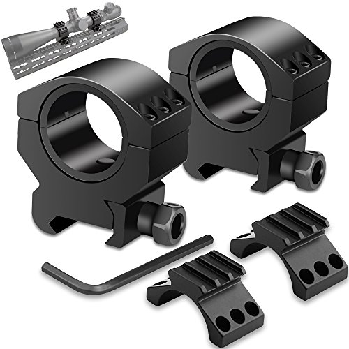 Modkin 1'' Scope Rings, 30mm Scope Mount Tactical Low Profile 25.4mm Inner Washer 1 Pair Fit 21mm Picatinny Rail (Set of 2) (Black) ()