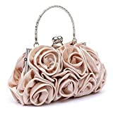 Peacesea Floral Ladies Clutch Bag Women Evening Party Bag Prom Bridal Style Apricot
