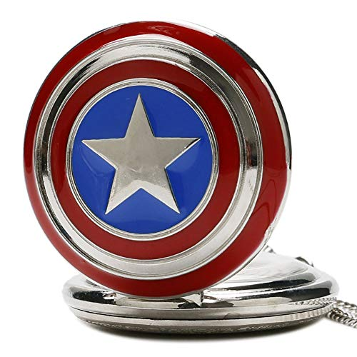 Captain America Men's Pocket Watch, Captain America Shield Weapon Pocket Watch, The First Avenger Steve Rogers Pocket Watch Gift (Captain American 2) ()