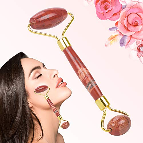 (Facial Massager Jade Roller (Red Onyx), Anti-Aging Facial Massager for rose quartz roller, Ruby Roller - 100% Natural Jade Facial Roller Massager for eye puffiness and firming face.)