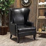 Jameson Tall Wingback Black Leather Club Chair