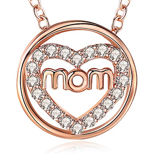 EURYNOME Mom Necklace Rose Gold Plated Circle Love Heart Pendant Necklaces Jewelry for Mothers Birthday Gift