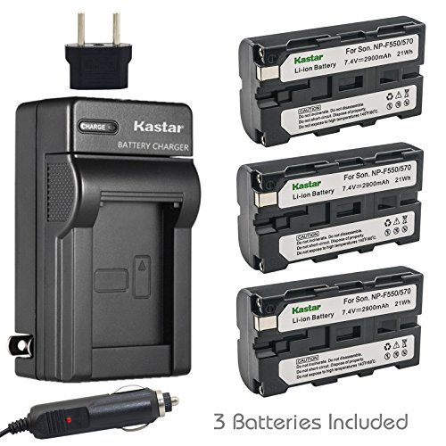 Kastar NP-F570 Battery (3-Pack) and Charger Kit for Sony L Series InfoLithium Battery NP-F570, NP-F550, NP-F530, NP-F330 and Sony DCRVX2100, HDRFX1, HD1000U, HVRZ1U, HXR-NX5U, NEX-FS100 - Infolithium Sony Np F770 Battery