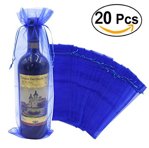 Wuligirl 20pcs Blue Organza Wine Bags Wedding Christmas Champagne Bottles Party Baby Shower Prizes Favors Drawstring Pouches Reusable Simple Bottle Wrap,5.5 by 14.5 Inch(20pcs - Bag Blue Bottle