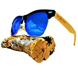 Blue Mirror Polarized Bamboo Wood Sunglasses Semi Rimless/Half Frame - Wooden