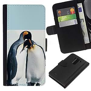 EJOY---La carpeta del tirón la caja de cuero de alta calidad de la PU Caso protector / LG G3 / --Pingüino lindo Amigos