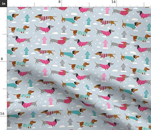 Spoonflower Dachshund Fabric - Pattern Cute Dogs Fire Hydrants Turtlenecks Snow Kids Christmas Animals Funny Print on Fabric by The Yard - Minky for Sewing Baby Blankets Quilt Backing Plush Toys