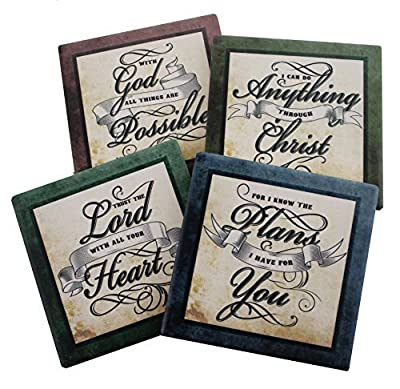 Inspirational Scriptures Coaster Set of 4 | Encouraging Verses to Protect Your Furniture | Christian and Spiritual Gifts and Decor by Dwk