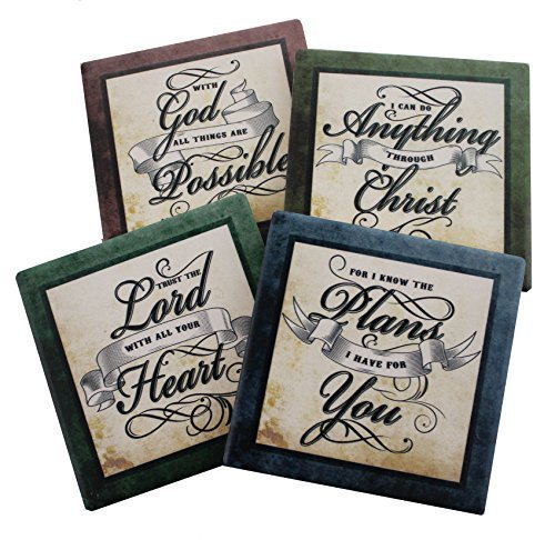 Inspirational Coasters - Inspirational Scriptures Coaster Set of 4 | Encouraging Verses to Protect Your Furniture | Christian and Spiritual Gifts and Decor
