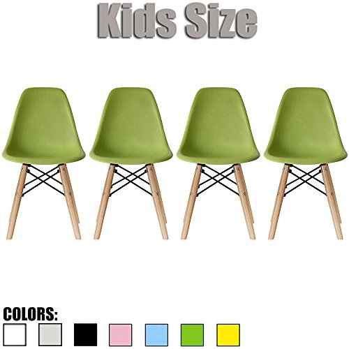 2xhome - Set of Four (4) - Green - Kids Size Eames Side Chairs Eames Chairs Green Seat Natural Wood Wooden Legs Eiffel Childrens Room Chairs No Arm Arms Armless Molded Plastic Seat Dowel Leg… by 2xhome