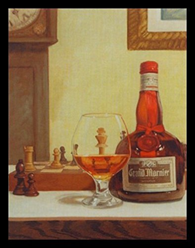 Buyartforless Framed Chess and a Cordial by David Morocco 18x24 Art Print Poster and Glass Chess Board Game - Grand Marnier Orange Liqueur