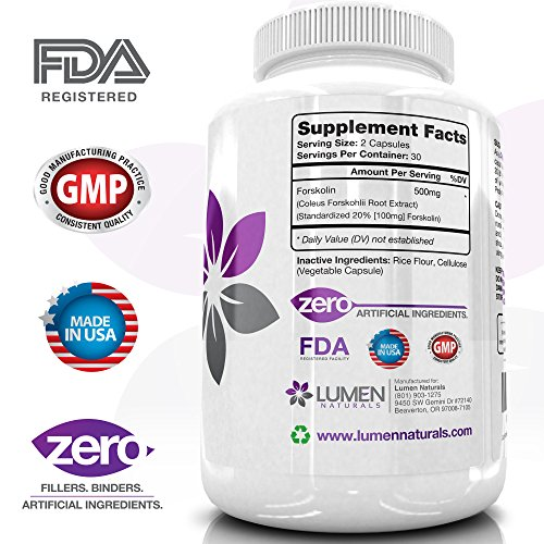 """Forskolin 500mg 2X Strength 20% Standardized - Get the """"Insta Belly Melt"""" Research Verified Pure Coleus Forskohlii Extract Supplement for Weight Loss - Shown to Rapidly Burn Fat & Increase Metabolism"""