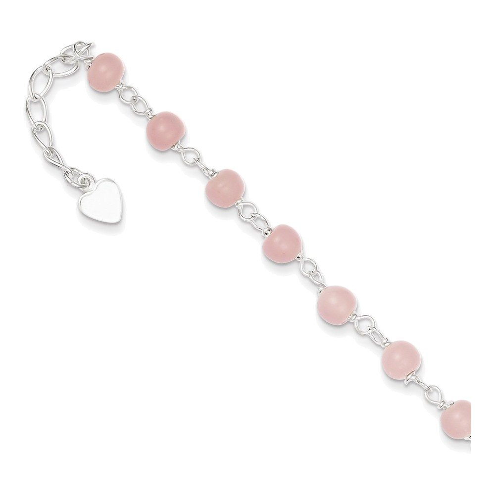 Jewelry Adviser Beads Sterling Silver Pink Glass Bead with Heart Anklet Length 9''