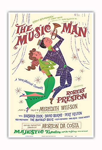Pacifica Island Art - The Music Man - Starring Robert Preston - Majestic Theater Broadway - Vintage Theater Poster by David Klein c.1957 - Master Art Print - 13in x 19in