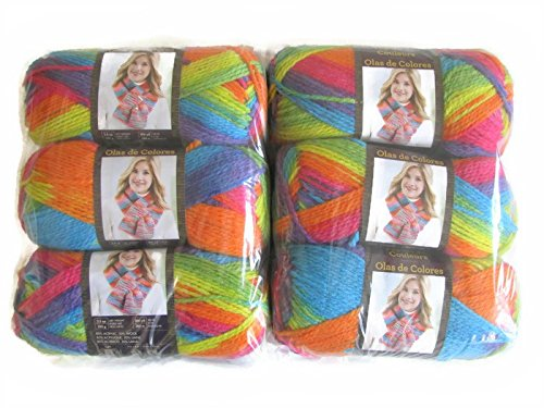 Lion Brand Color Waves Yarn, 6-Pack (Rainbow, 595-216) by Lion Brand