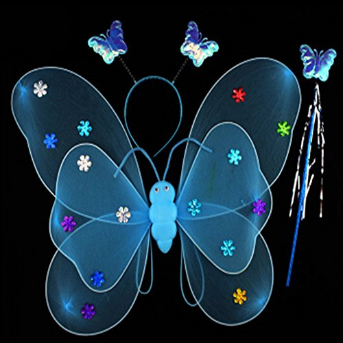 Mardi Gras Ball Wand (KAKA(TM) Angel Butterfly Fairy 3-pcs Set Children Cosplay Performance Show Costume Props - Blue)