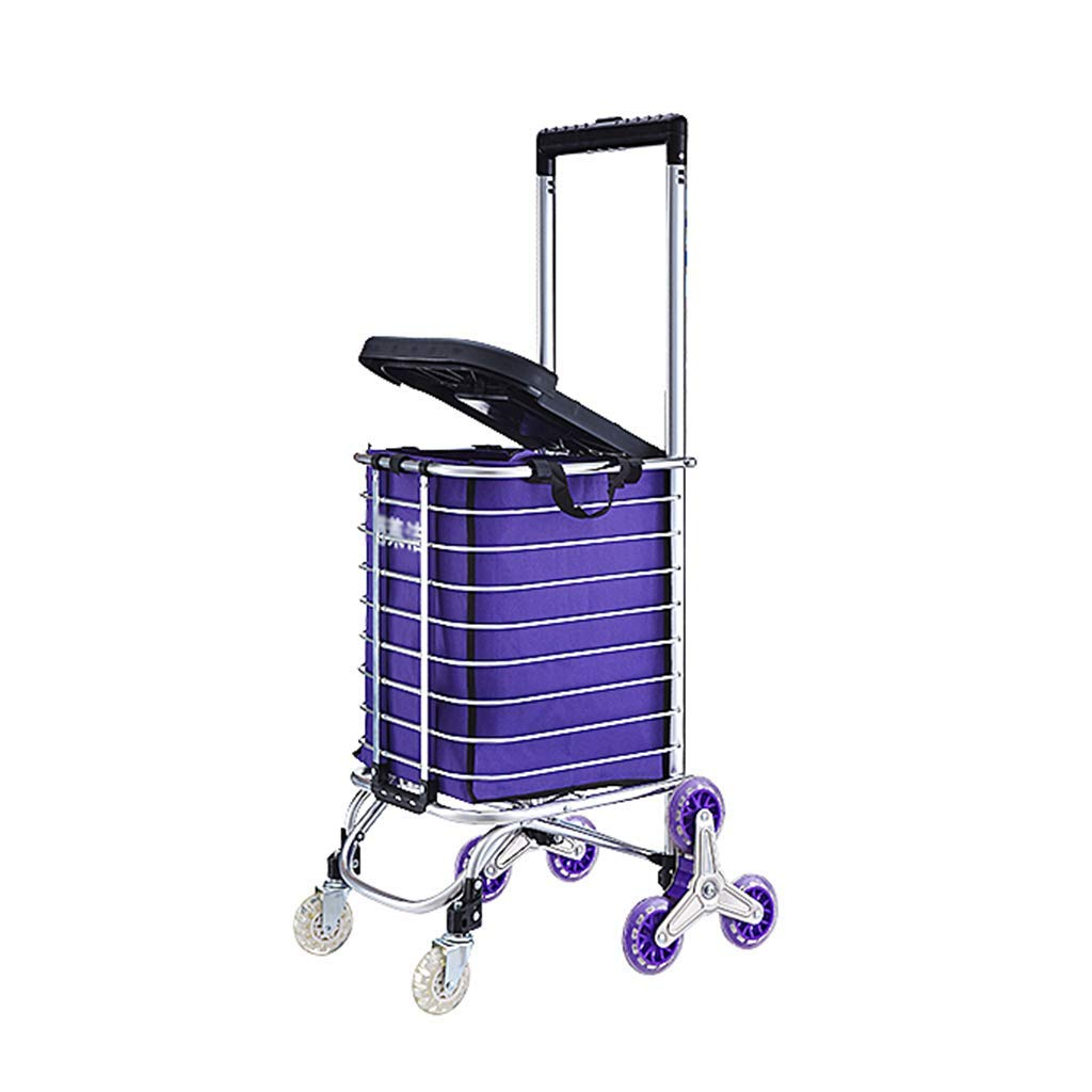 Portable Folding Aluminum Handcart Stair Climber with 8 Quiet Wheels,Handcart with Shopping Basket and Rubber Wheel?Maximum Load Capacity 75kg?no Assembly
