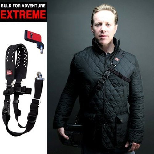 Carry Speed Xtreme Extreme, DSLR Camera Weatherproof Rubberized Sling Shoulder Neck Strap /Black color + F-2 foldable mounting plate by Carry Speed