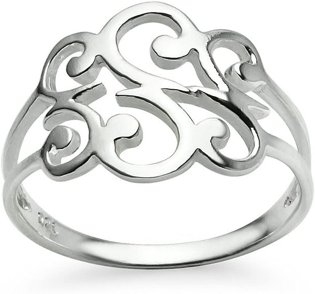 Sterling Silver Spiral Filigree Swirl Polish Finished Band Ring Sizes 5-12