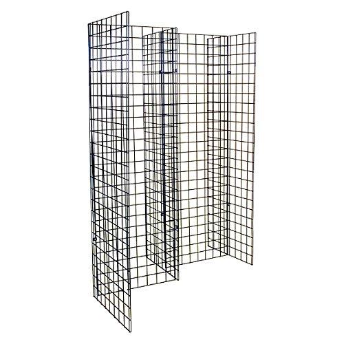KC Store Fixtures 05313 Freestanding Grid Unit with 5 2' x 6' Panels, Black