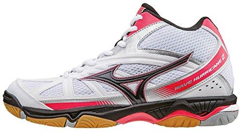 Mizuno Wave Hurricane Mid Wos, Zapatillas de Voleibol para Mujer Bianco (White/Black/Divapink)