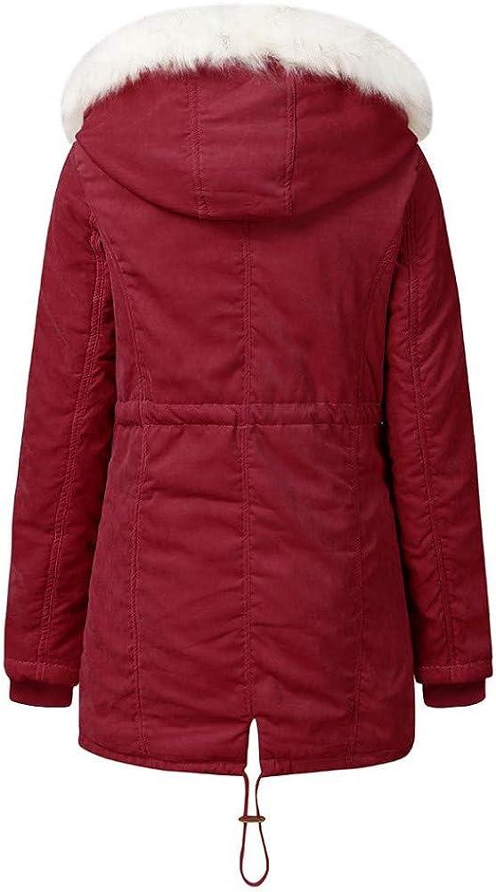 Aofanfs Parka Cappotto Invernale da Donna Capispalla in Cotone Moda Elastico in Vita Tasca con Cerniera Cappotti con Coulisse Rosso