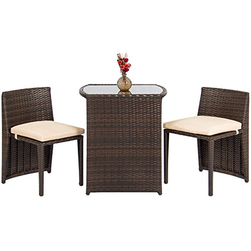 3 PCS Bistro Set Glass Top Table, 2 Chairs Outdoor Furniture Wicker Patio Set Garden Lawn (Outdoor Lounge Furniture Johannesburg)