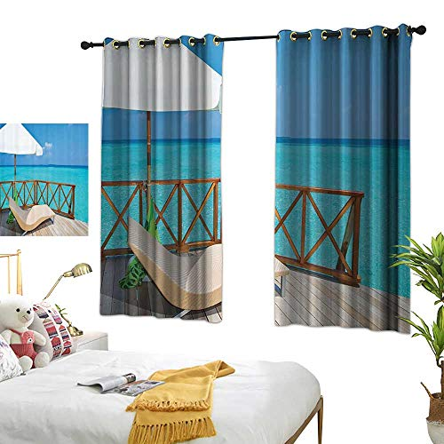 Light Luxury high-end Curtains Coastal Decor Collection Parasol and Chaise Lounges Deckchair on a Terrace of Water Villa in Maldives Reef Picture Privacy Protection 55