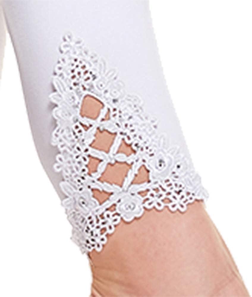 Vertvie Umstandsleggings Damen Schwangerschaft Hosen Weiche Stretch Umstandsmode Leggings mit Spitzenabschlu/ß Hollow