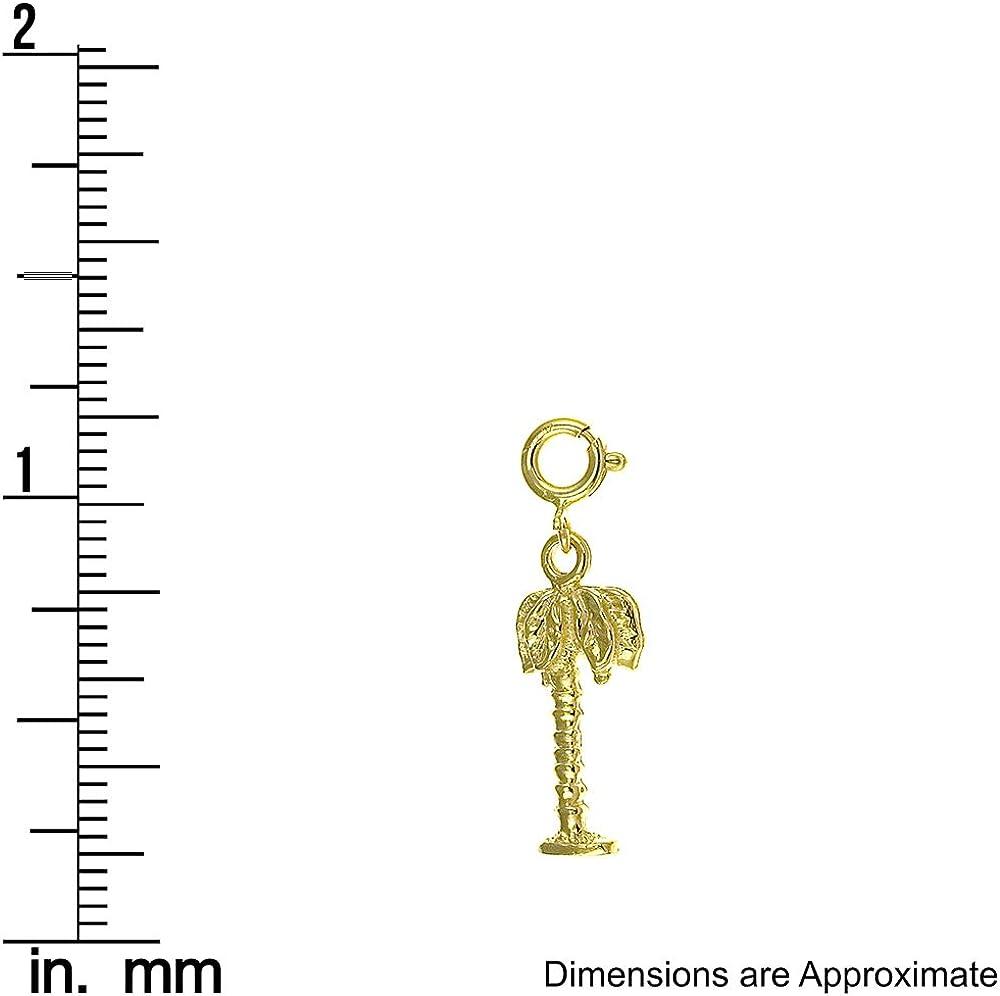 14k Yellow Gold Palm Tree Pendant 6mm x 25mm