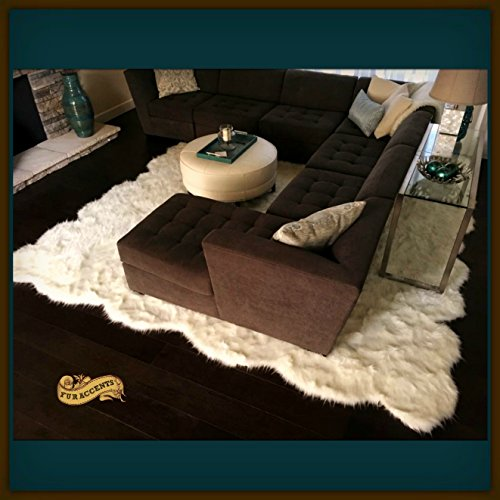 Fur Accents Room Size Shag Area Rug - Thick Off White Faux Fur - 8'x10' by Fur Accents