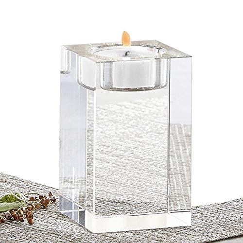 Crystal Candle Holders Elegant Solid Square Tealight Candlestick Table Centerpieces Candleholder for Wedding, Home Decor, Ceremony and Anniversary Home - Crystal Holder Square Tealight