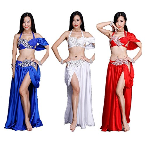 Costumes Belly Dance Performance (Silk Belly Dance Performance Costume, Blue White Red Egyptian Sexy Skirt,Oriental Dance, Bra Long Skirt Club)