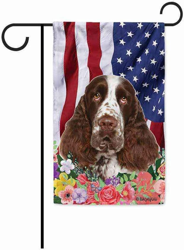 BAGEYOU American Flag with My Love Dog English Springer Spaniel 4th of July Patriotic Decoraive Garden Flag for Outside Colorful Flowers Summer Home Decor Banner 12.5 X 18 Inch Printed Double Sided