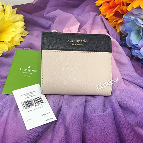 Kate Spade New York Cameron L-Zip Bifold Wallet Warm Beige Black