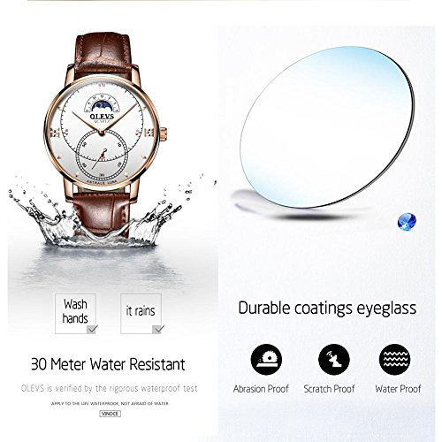 Rose Gold Watches for Men,Brown Leather Watch Men Business Casual Wrist Watch,Fashion Japan Quartz Movement Watch with White Face,Men's 30m Waterproof Wrist Watches,Round White Dial by OLEVS (Image #4)