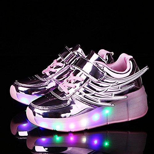 KE Niños Ala LED de luz Espejo zapatos de entrenamiento Noche deporte Pink