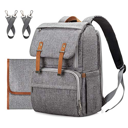 - Diaper Bag Backpack,Upsimples Multi-Function Travel Backpack with Changing Pad|Stroller Strap, Laptop Back Pack for Working Mom&Dad,Large Capacity, Waterproof and Stylish, Gray