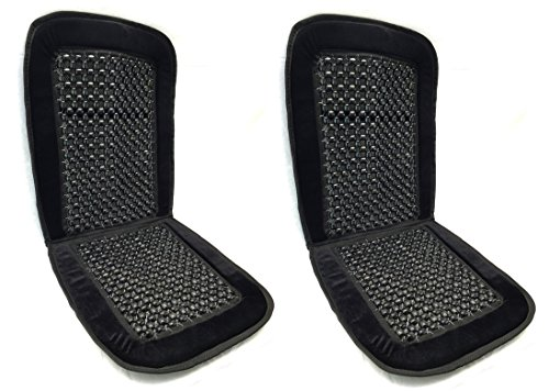 Royal Premium Bamboo Wooden Beaded Seat Cover Massage Cool Comfort Cushion - For Office, Truck and Car Seats (Pack of Two, Black)