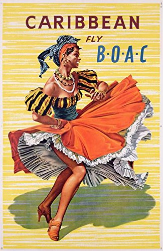 [Wall Art Print entitled Poster Advertising B.O.A.C. Flights To Caribbean by The Fine Art Masters] (Female Flamenco Dancer Costumes)
