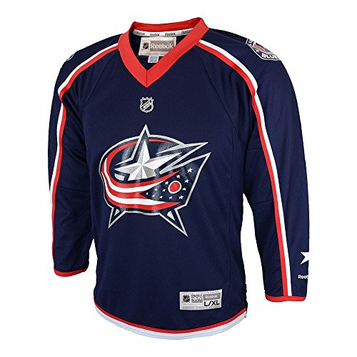 OuterStuff NHL Columbus Blue Jackets Replica Youth Jersey, Navy, (Navy Blue Replica Jersey)