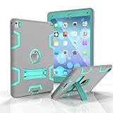 Onway Slim Fit Silicone Rubber PC Hybrid Shock Proof Bumper Built-in Kickatand Back Cover Case For iPad Pro 9.7 9.7Inth Gray+Green