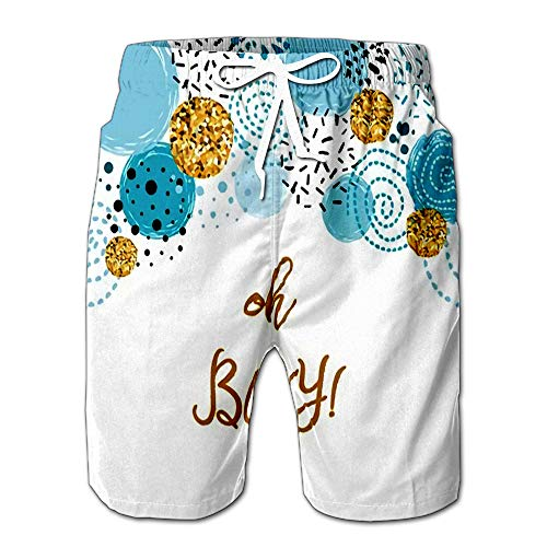 Summer Shorts Pants Oh Boy Cute Baby Shower with Blue Gold Round Elements Birthday Invitation Abstract Border Mens Golf Sports Shorts XXL