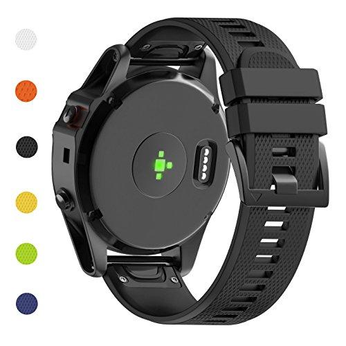 Fashioneey Compatible for Garmin Fenix 5X Band,Soft Silicone Wristband Replacement Strap with Quick Release Connectors Compatible for Garmin Fenix 5X / Fenix 3 / Fenix 3 HR GPS Watch(Black) (Original Quick Release)