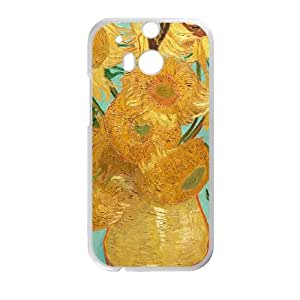 HTC One M8 Cell Phone Case White Van Gogh Sunflower WQ7486629