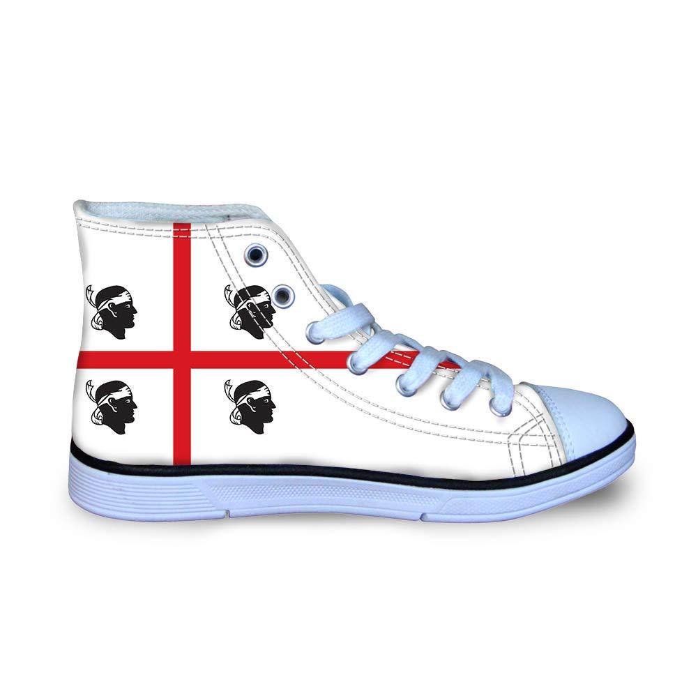Canvas High Top Sneaker Casual Skate Shoe Boys Girls Sardinia Flag